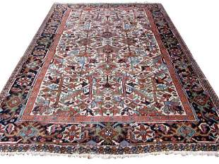 Handmade antique Persian Heriz distressed rug 6.9' x