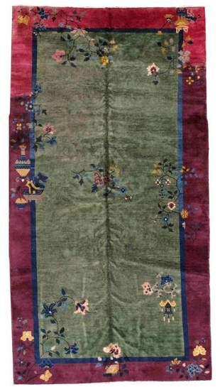 Handmade antique art deco Chinese rug 6.2' x 11.7' (