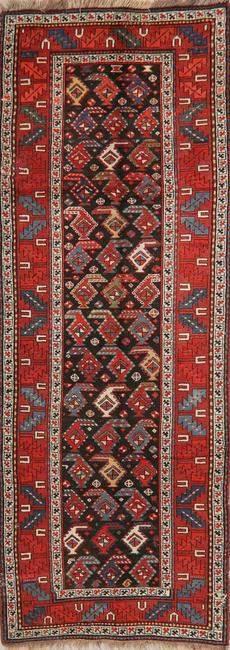 Pre-1900 Antique Vegetable Dye Caucasian Runner Rug