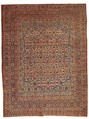 Handmade antique Persian Tabriz Hajalili rug 4.5' x