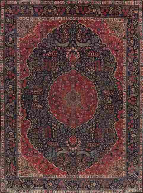 Antique Vegetable Dye Khoy Tabriz Persian Area Rug