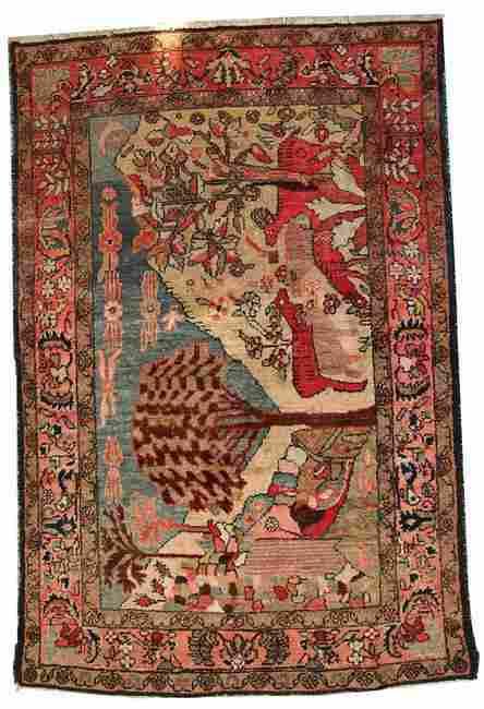 Handmade antique Persian Malayer rug 3.9' x 6' ( 120cm
