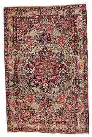 Handmade antique Persian Kerman Lavar rug 4.1' x 6.3' (