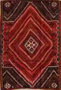 Antique Geometric Red Lori Persian Area Rug 5x7