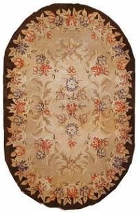 Handmade antique American hooked rug 2,8' x 4,3' ( 83cm