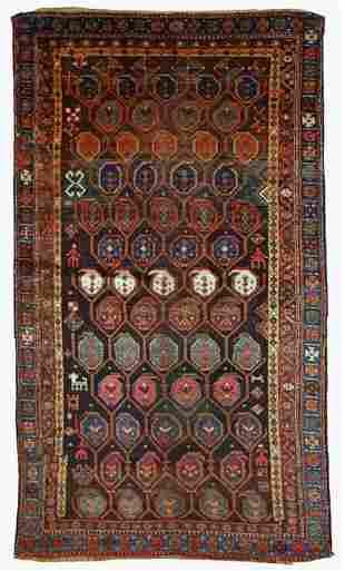 Handmade antique Persian Kurdish rug 3.10' x 5.9' (