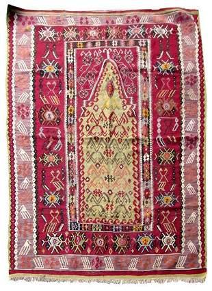 Handmade antique prayer Turkish Melas kilim 4.5' x 5.3'