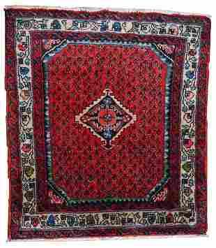 Hand made vintage Persian Hamadan rug 2.4' x 2.6' (