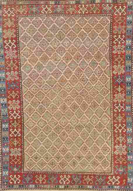 Pre-1900 Antique Vegetable Dye Shirvan Caucasian Rug