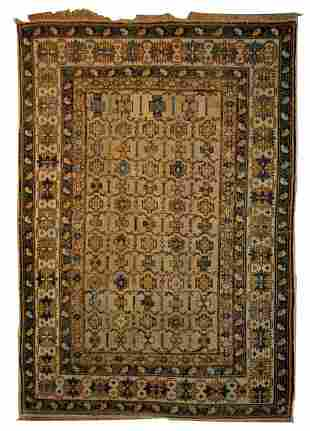 Handmade antique Caucasian Shirvan rug 3.9' x 4.10' (
