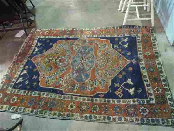 Antique Hand Knotted Persian Heriz 4x6.3 ft