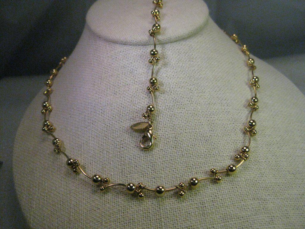Vintage Necklace & Bracelet Set, Gold tone Vine-Like