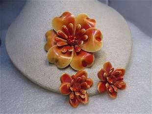Enameled Floral Brooch & Clip Earrings Set, Shades of