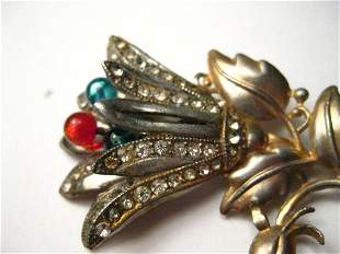 Vintage Art Deco Floral Brooch, Gold and Silver Tone,
