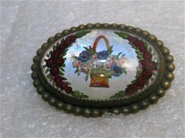 Vintage Essex Glass Floral Brooch, Pastel Basket and