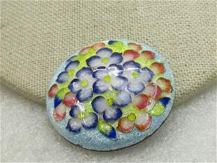 """Vintage Guilloche Floral Brooch, Round, Domed, 1.5"""""""