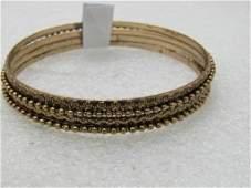 "Vintage Layered & Stacked Bangle Bracelet, 8"", Gold"