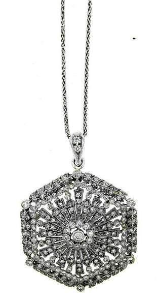 WOW 14k, 18k White Gold & Diamond Necklace Deco Style