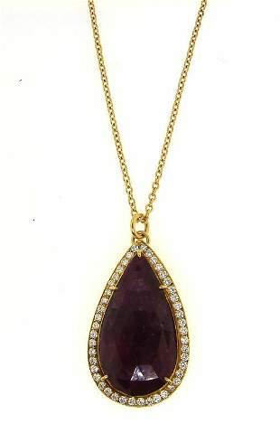 WOW 18k Gold, Ruby & Diamond Rain Drop Necklace