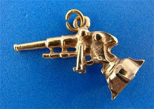 CUTE 10k Rose Gold Gun Charm Pendant