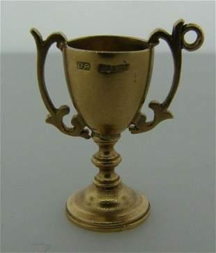 I WON 9k Yellow Gold Victorian Trophy Cup Charm Circa