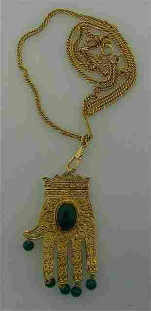 GORGEOUS Gold Plated & Malachite Hamsa Hand Necklace