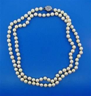 GORGEOUS Silver, Rosecut Diamond & Pearl Double Strand