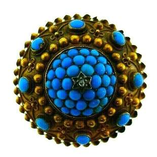 ANTIQUE 9k Yellow Gold, Diamond & Turquoise Brooch