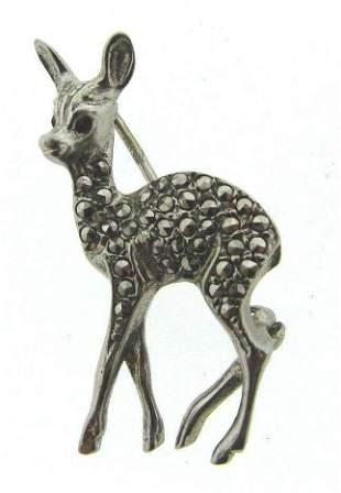 CUTE Silver, Marcasite & Glass Pin Circa 1960s