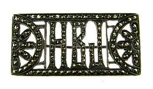 GORGEOUS European Sterling Silver & Marcasite Pin CIrca
