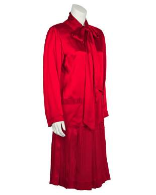 Chanel Red Satin Skirt & Matching Tie Neck Ensemble