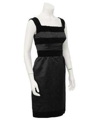 Louis Féraud Black Silk and Velvet Cocktail Dress