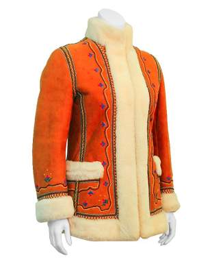Anonymous Tan Shearling Embroidered Coat