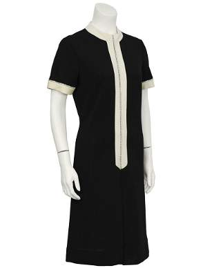 Anonymous Black and Cream Knit Dress With Rhinestones