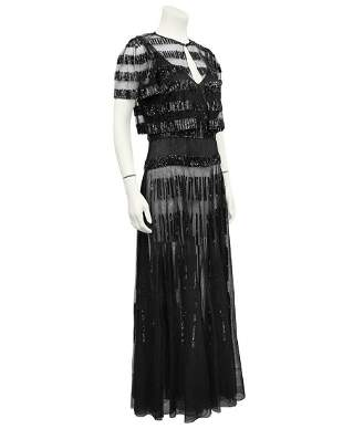 Anonymous Black Sheer and Sequin Gown Ensemble