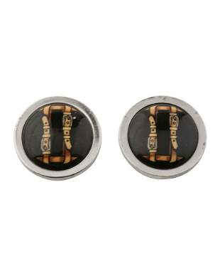 Hermes Silver button earrings with buckle detail