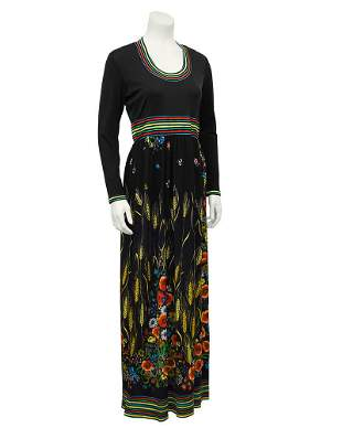 Anonymous Black Long Maxi Dress with Floral Print