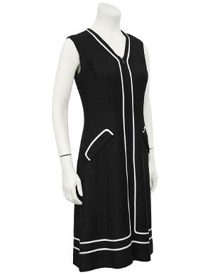Anonymous Black Day Dress with White Piping