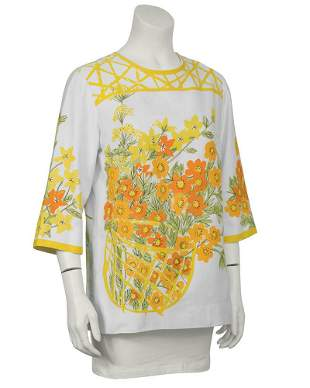 Vera White and Marigold Cotton Blouse