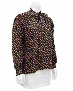 Yves Saint Laurent Black Silk Shirt with Orange Flowers