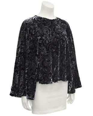 Giorgio Armani Black and Grey Velvet Paisley Blouse
