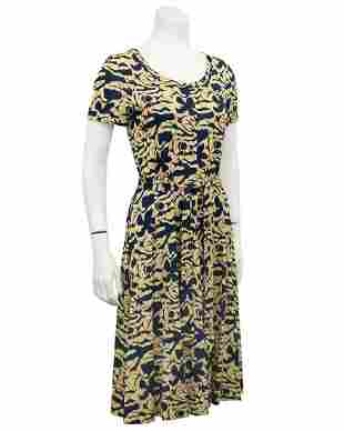 Diane von Furstenberg Yellow and Navy Dress