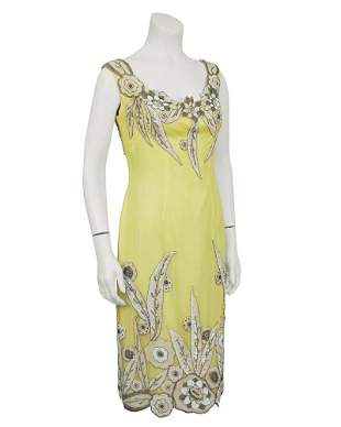 Anonymous Yellow Demi Couture Silk Dress With 1920's
