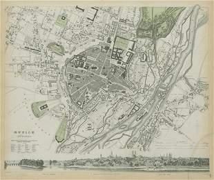 MUNICH MÜNCHEN MUNCHEN Antique city town map plan &