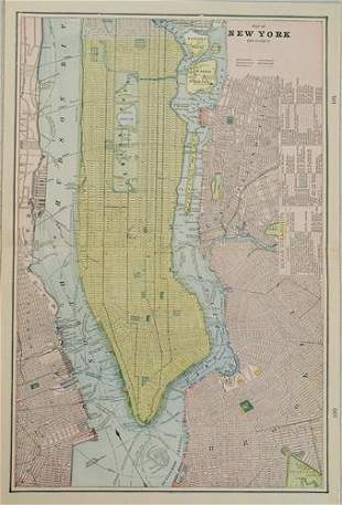 1898 Cram Map of New York City -- Map of New York and