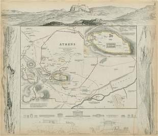 ANCIENT ATHENS Antique city town map plan Acropolis