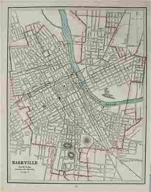 1891 Cram Map of Nashville [verso] Memphis -- Nashville