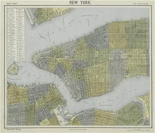 NEW YORK CITY town map plan. Midtown/Upper Manhattan
