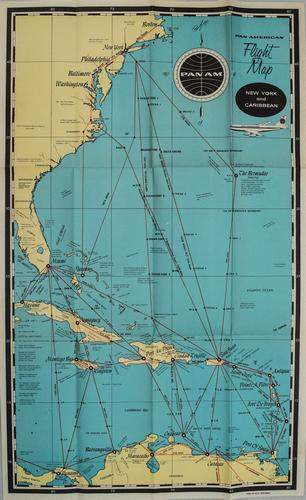 1950s PanAm Route Map of Caribbean -- Pan American