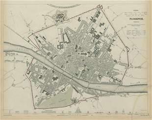 FLORENCE FIRENZE Antique city town map plan Key